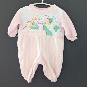 Vintage baby pink footless sleeper.